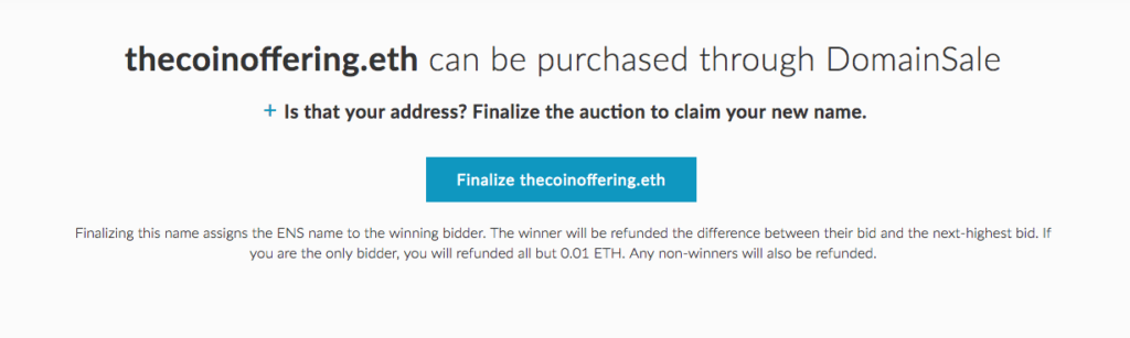 Finalize the Auction Button