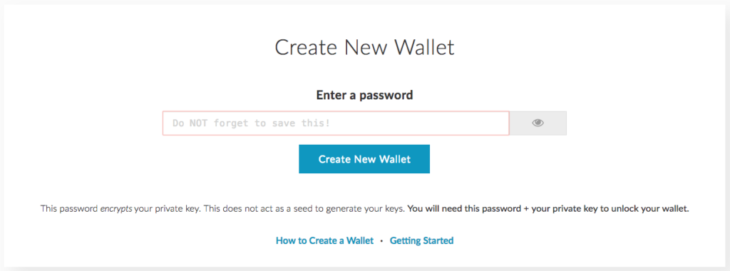 MyEtherWallet - Create a New Wallet